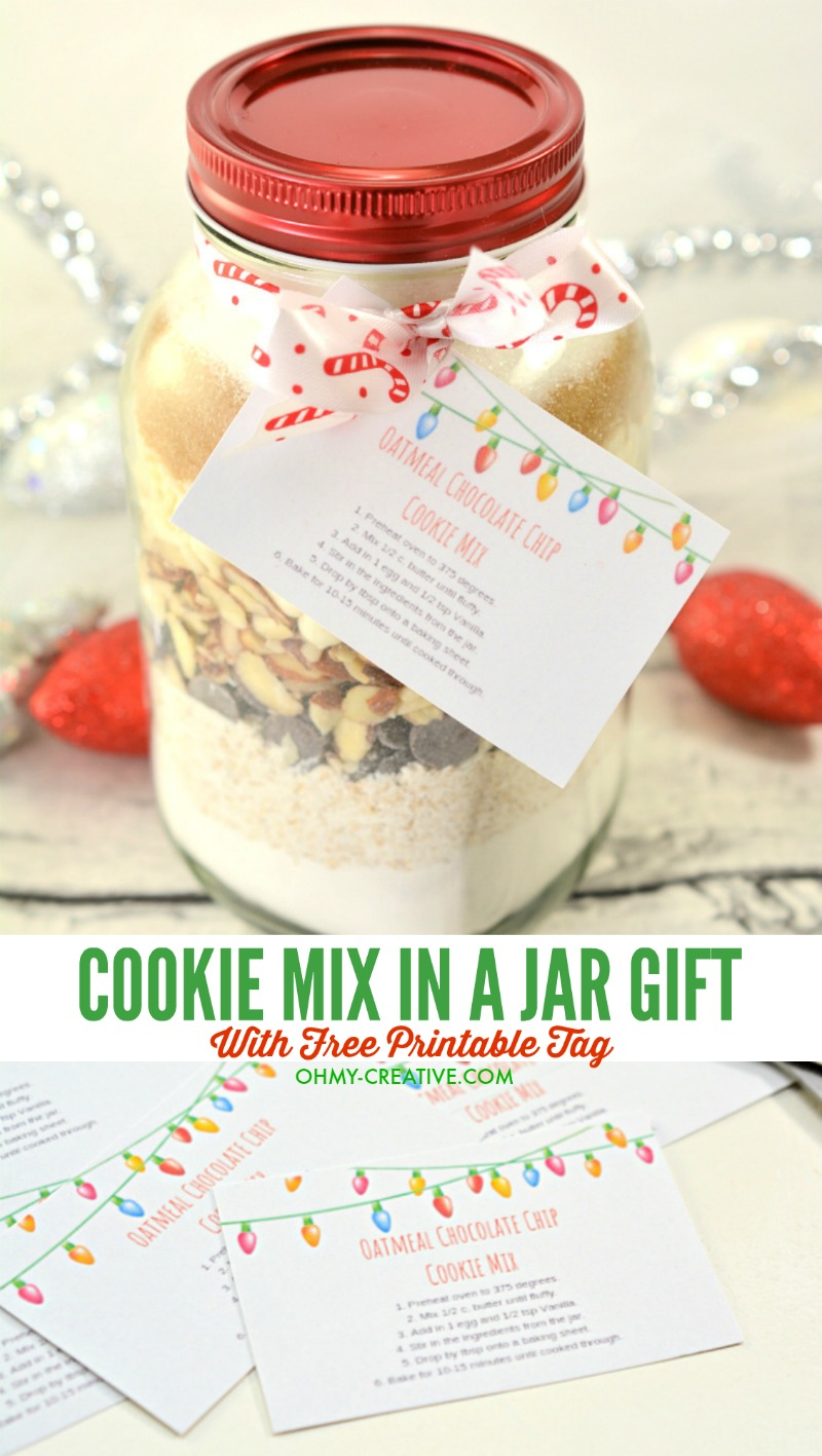 graphic regarding Snowman Soup Printable Tags named Oatmeal Chocolate Chip Cookie Merge Inside of A Jar + Printable Tag