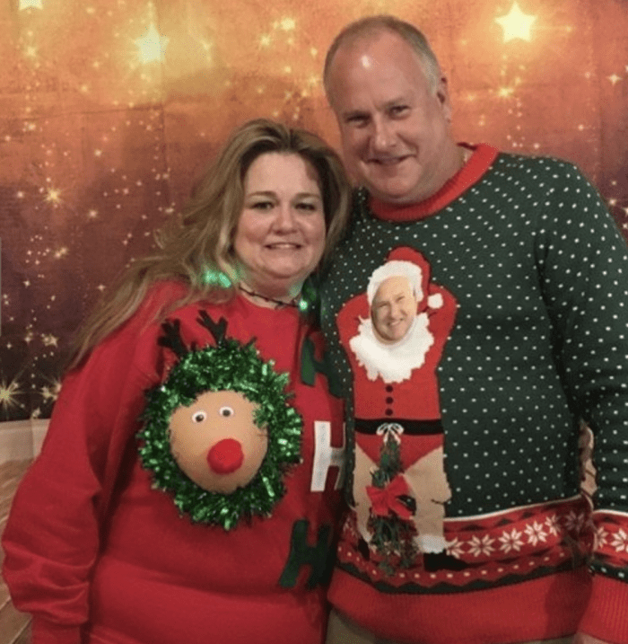 10 Of The Best Couples Ugly Christmas Sweaters - REINDEER BREAST UGLY CHRISTMAS SWEATER
