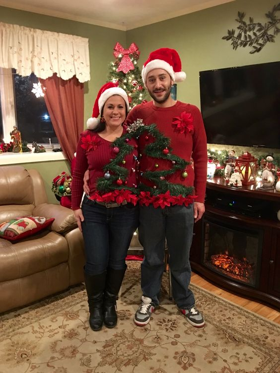 10 Of The Best Couples Ugly Christmas Sweaters - Festive couples DIY tree ugly Christmas sweater