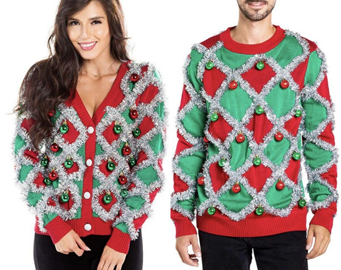 10 Of The Best Couples Ugly Christmas Sweaters - Festive couples tinsel ugly Christmas sweaters