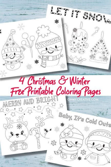 These Free Printable Christmas Coloring Pages PDFs are great for the kids. They are perfect to use as winter coloring pages as well! OHMY-CREATIVE.COM #christmasprintables #winterprintables #coloringpages #kidscoloringpages #christmasplasemats
