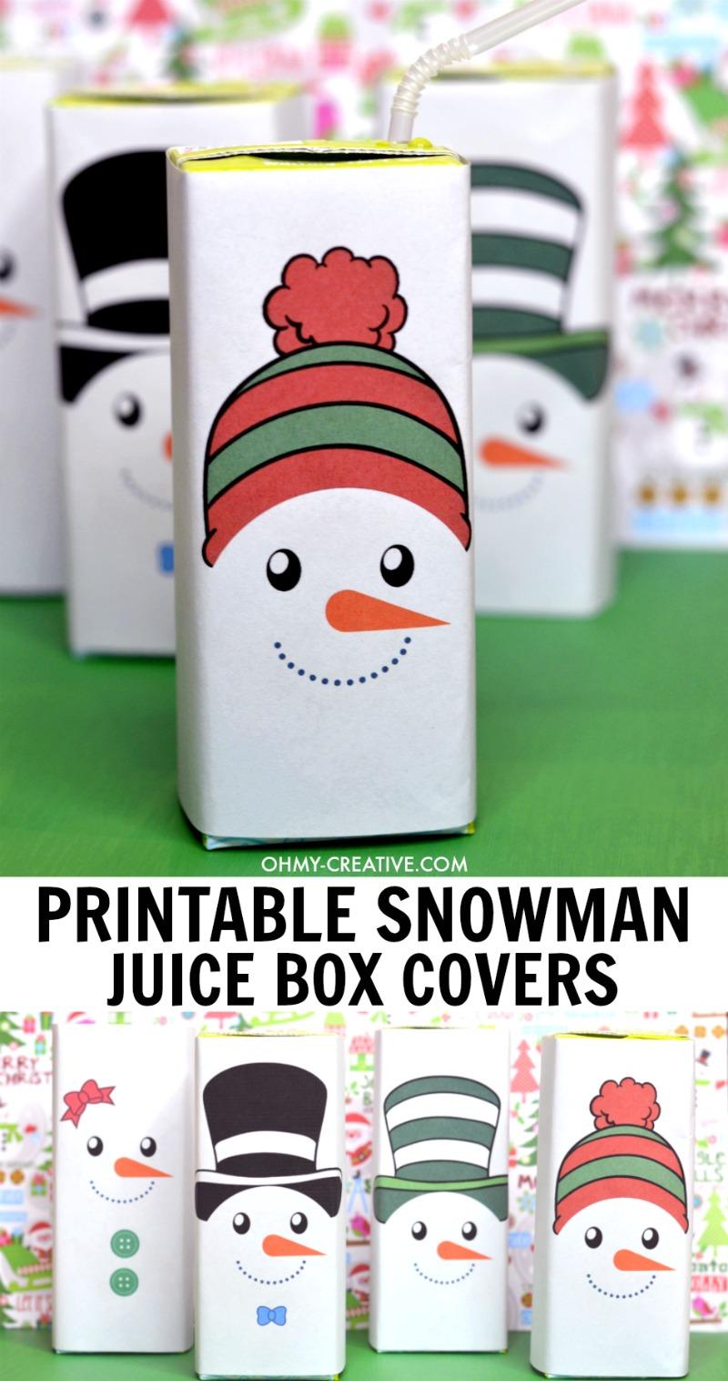 image regarding Snowman Candy Bar Wrapper Free Printable titled Totally free Printable Snowman Juice Box Addresses - Oh My Artistic