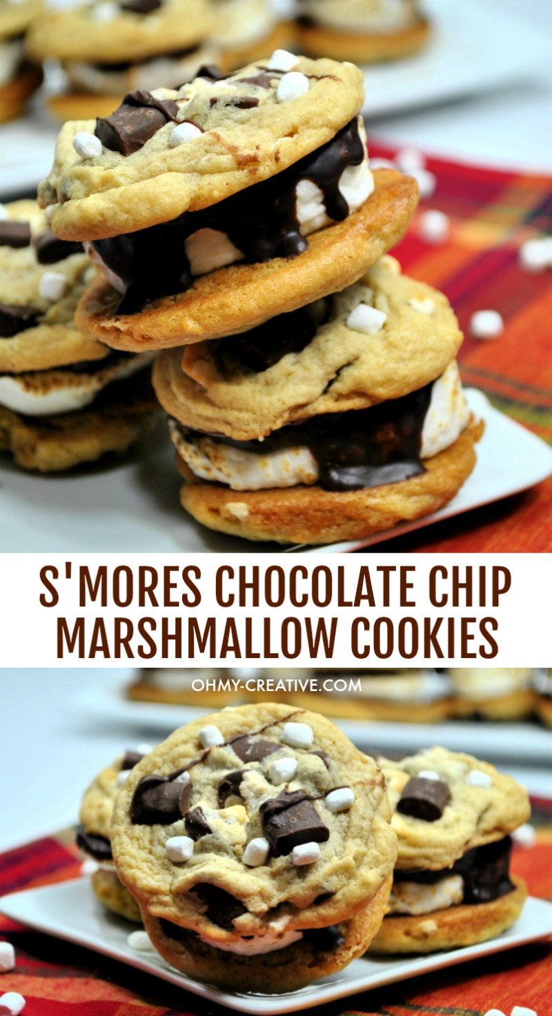 These delicious Chocolate Chip Marshmallow Cookies S'mores Sandwich are a crowd pleaser. A chewy chocolate chip marshmallow cookie with a toasted marshmallow center! OHMY-CREATIVE.COM #smorescookies #smorescookierecipe #chocolatechipmarshmallowcookies #coookierecipe #smoresandwich