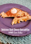 Chicken Goat Cheese Quesadilla Recipe with Corn Salsa on a purple plate