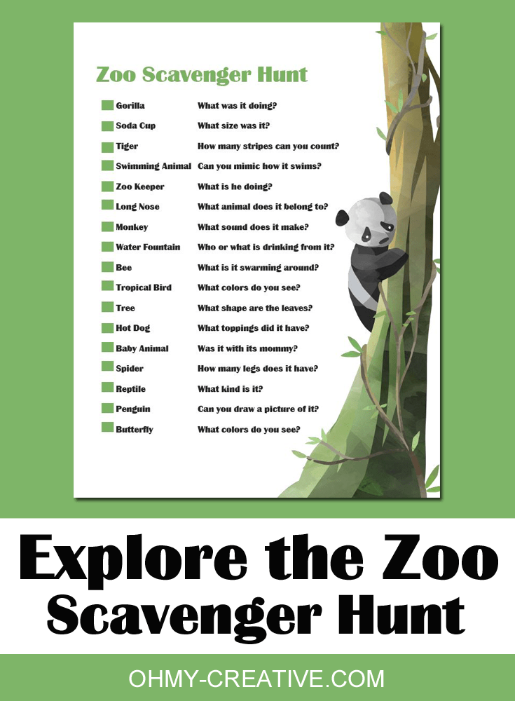 image about Zoo Scavenger Hunt Printable referred to as Entertaining Mother nature Scavenger Hunt Printables For Small children - Oh My Artistic