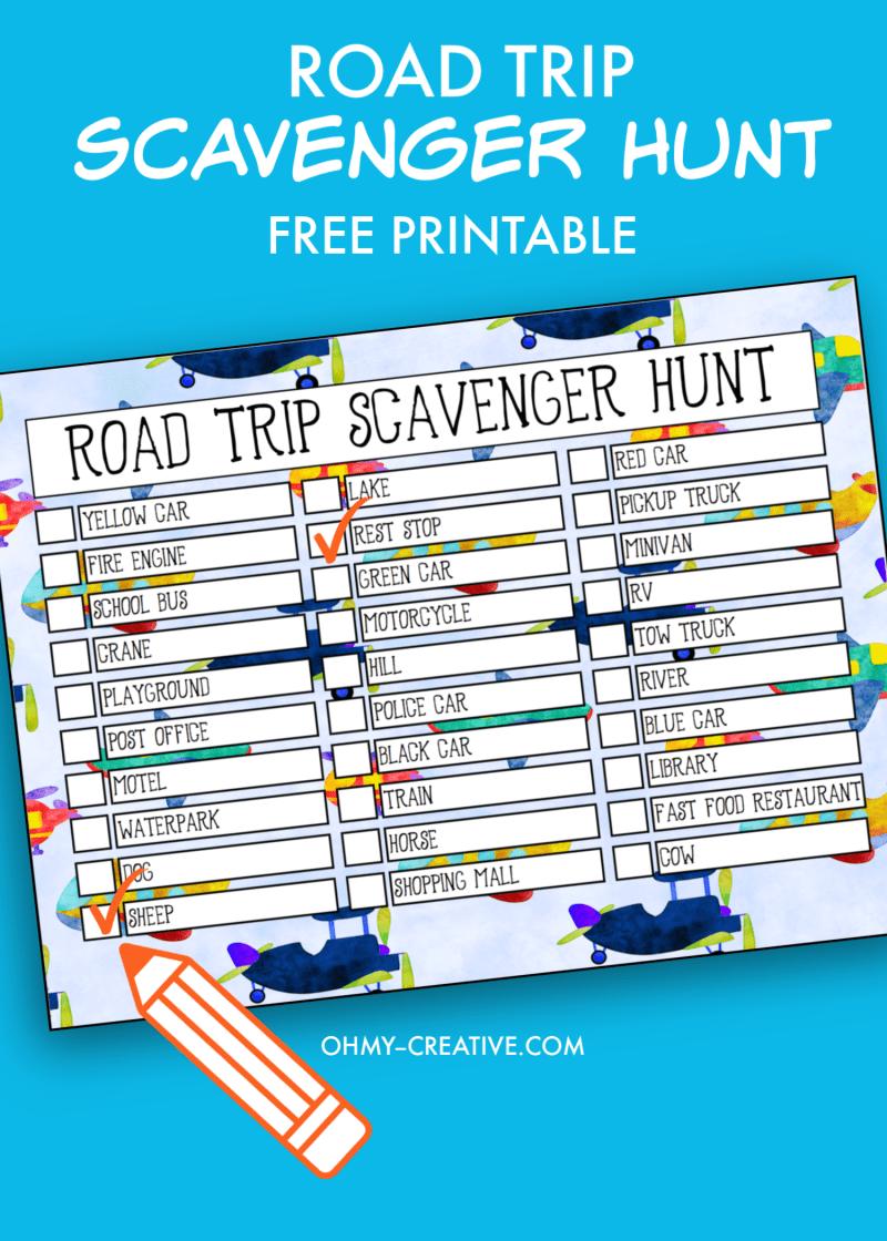 kids road trip scavenger hunt printable