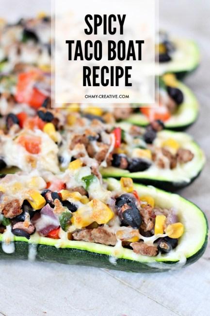Four prepared spicy zucchini taco boats