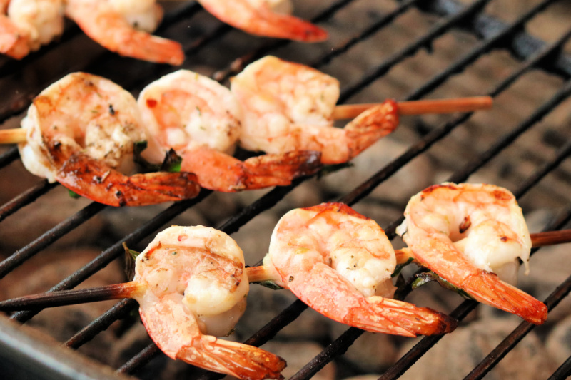 Lemon Garlic Shrimp cooking on the grill
