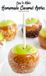 Five homemade caramel apples with dipped in different toppings. Toppings are nuts, chocolate chips, sugar crystals and coconut.