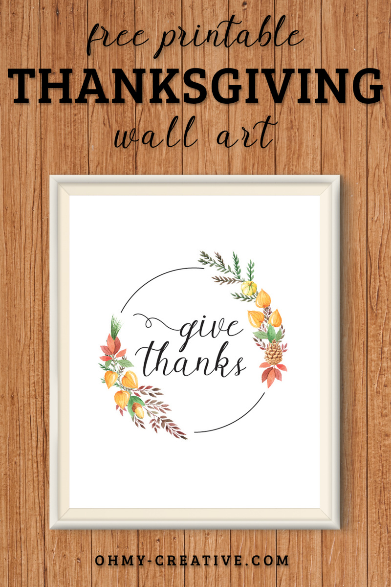Free Thanksgiving Printables Decoration Give Thanks Wreath