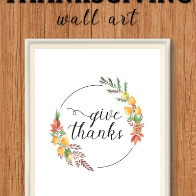 Free Thanksgiving Printables Decoration – Give Thanks Wreath