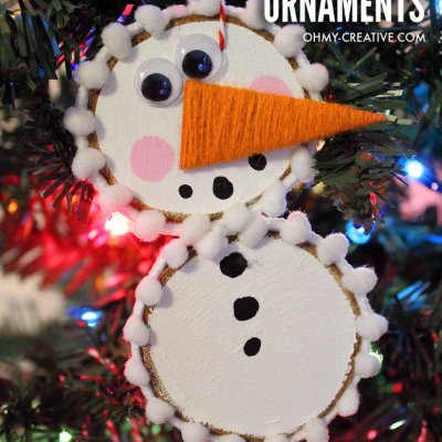 How To Make Wood Slice Snowman Ornaments