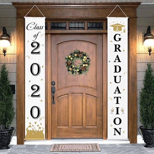 Outdoor graduation signs and banners are perfect decorations for your outdoor graduation party! What a fun way to celebrate at a high school graduation party!