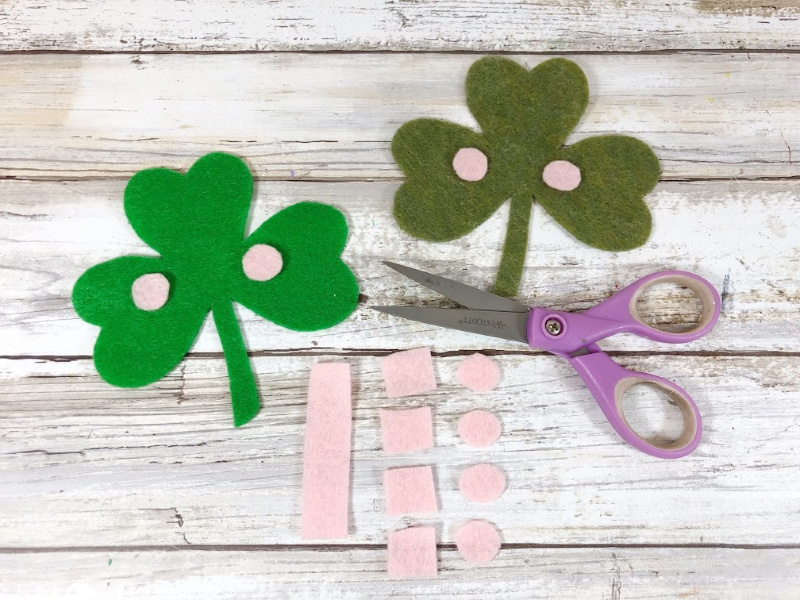 Cut circles from pink felt for the pink checks on the felt shamrocks.