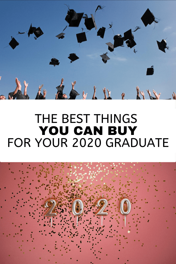 Grads throwing graduation caps and 2020 balloons with confetti