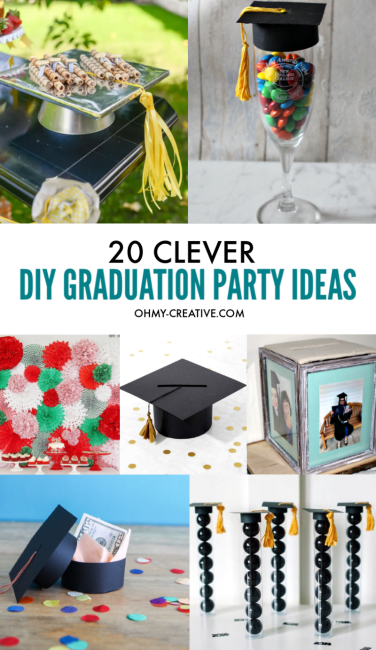 A photo collage of clever DIY Graduation Party Ideas to make.