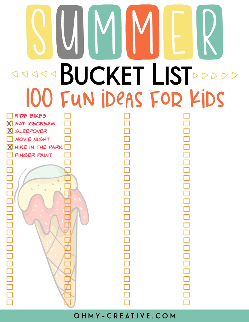 Blank summer bucket list printable for the family to create their own bucket list.