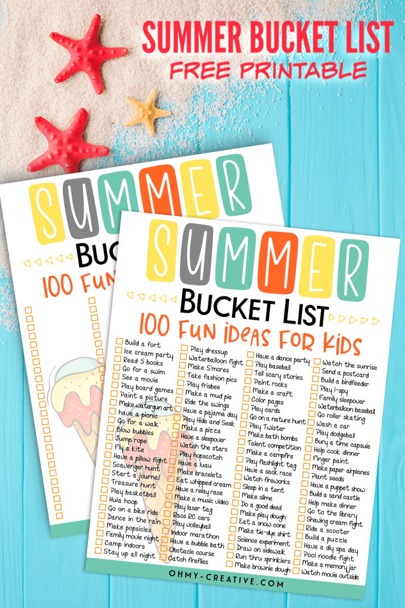 Summer bucket list printable pages on a turquoise background with sand and starfish.