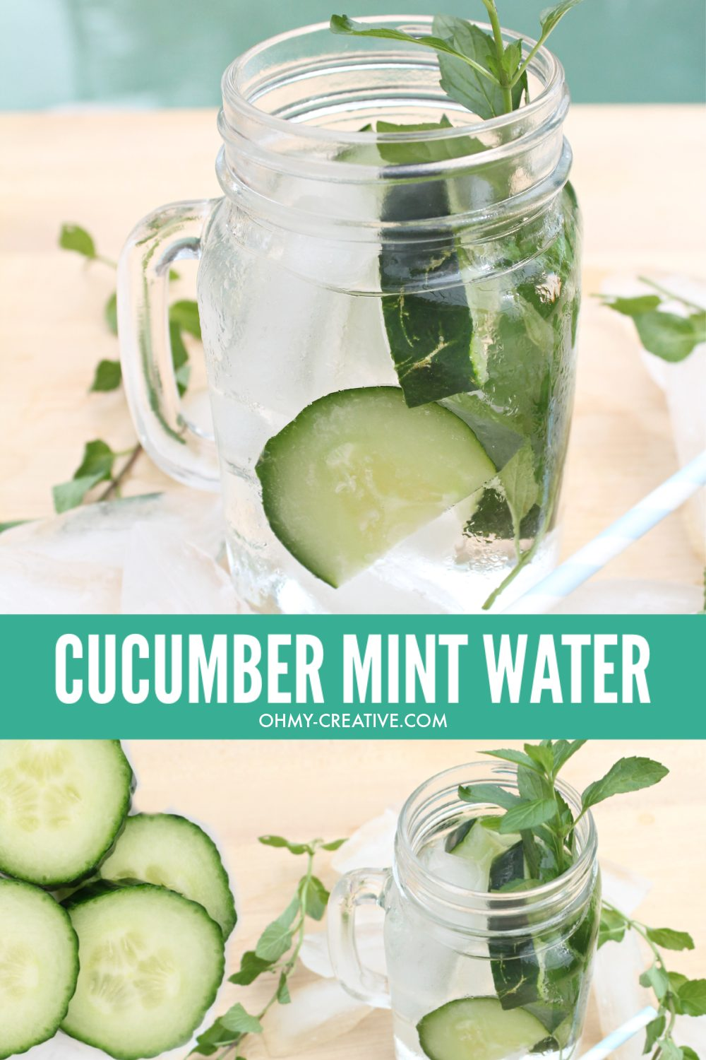 Cucumber Water with Mint and lots of ice