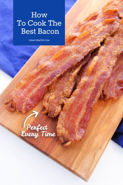 Perfect baked bacon from the oven on a cutting board.