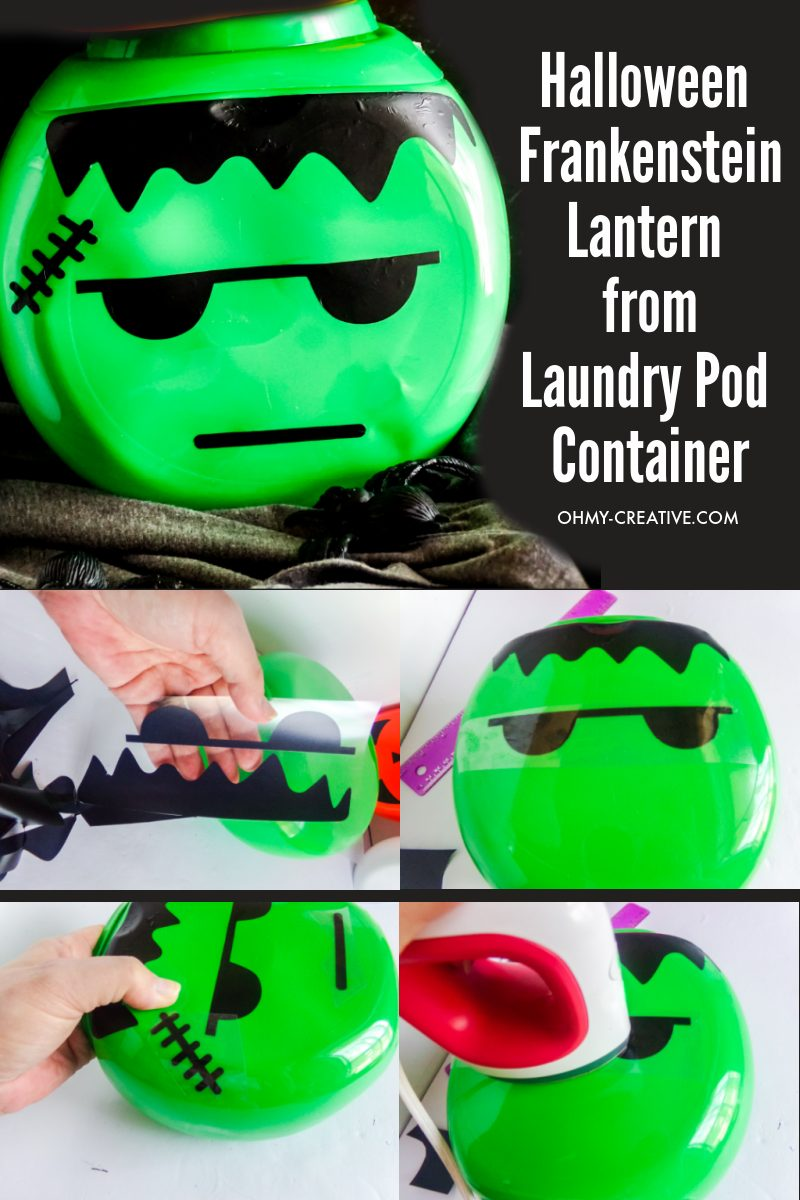 Step by step photo collage of how to make a Frankenstein lantern from laundry pod container.