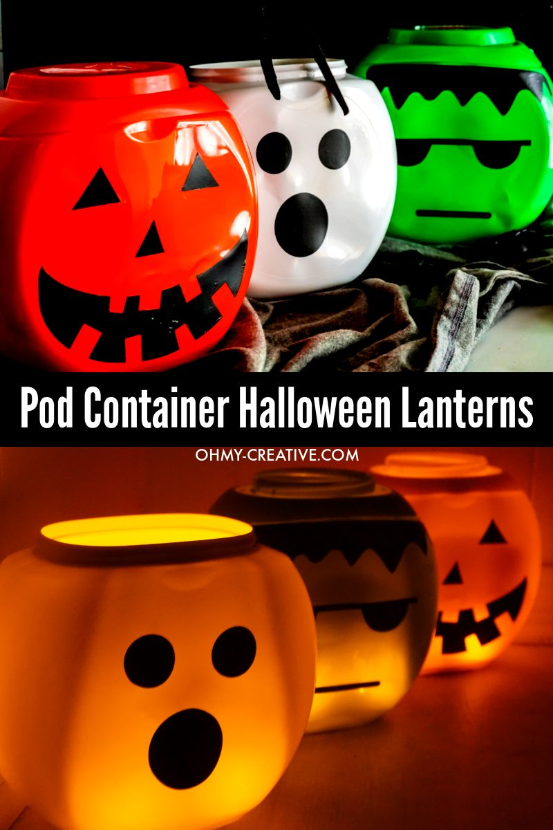 Fun Halloween lantern crafts glowing with and without tealights place inside.
