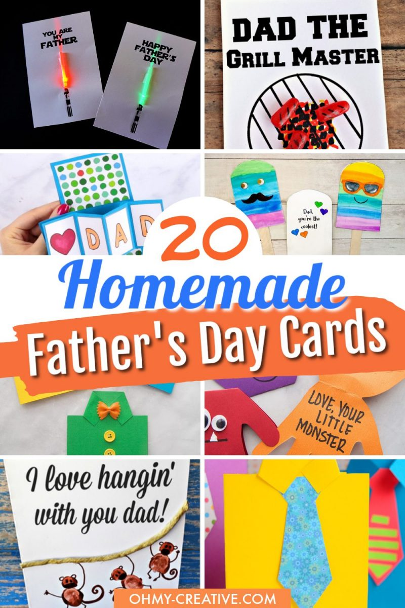 A collage of creative fun homemade Father's Day card ideas for kids!