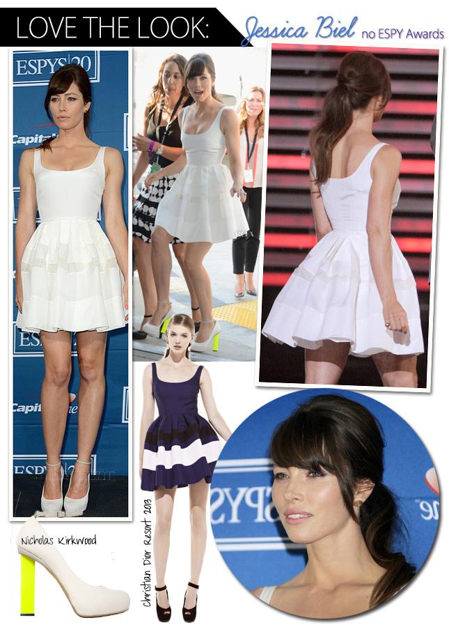 Look Jessica Biel ESPY Awards Vestido Branco Dior