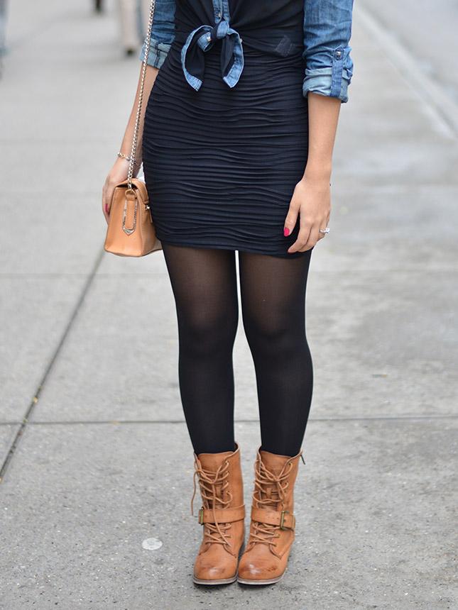 nyc look do dia blog de moda oh my closet monica araujo saia rennet saia preta camisa jeans renner coturno forever 21 nova york look dica 5 avenida