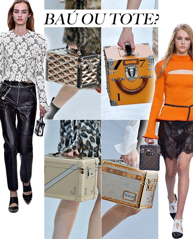 A bolsa baú foi o sucesso do desfile de inverno da Louis Vuitton.