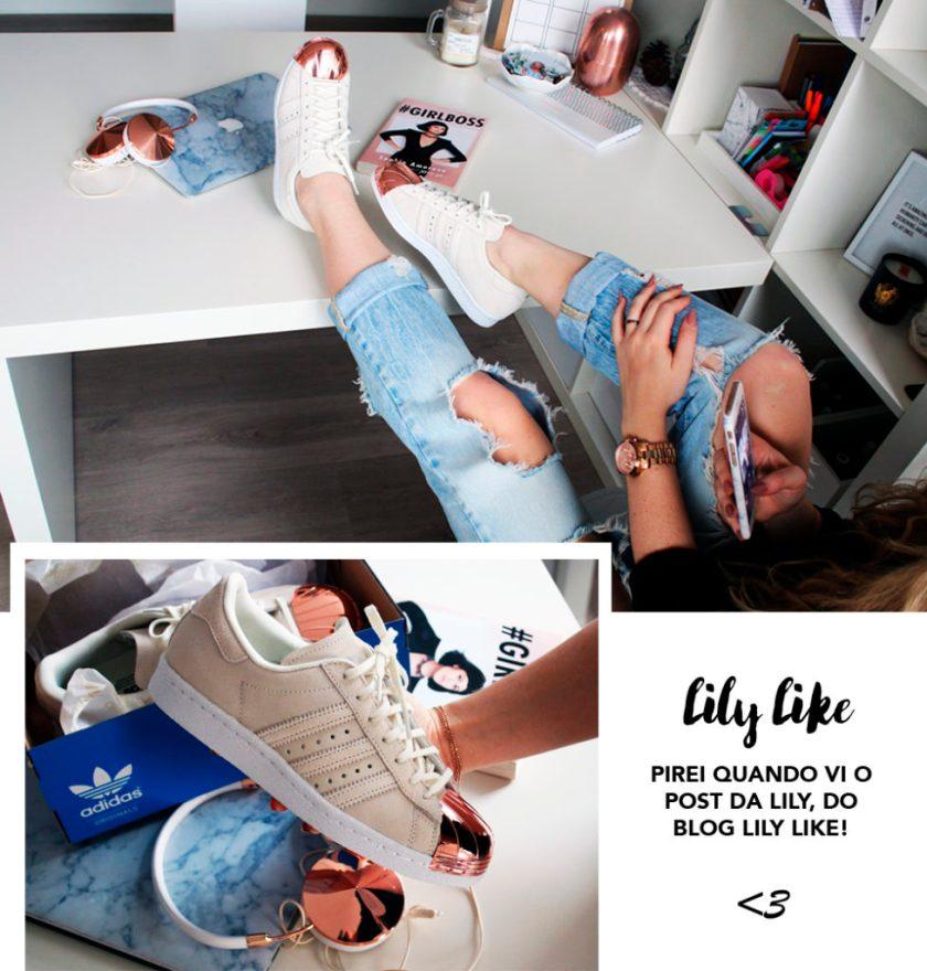 Todos os detalhes do Adidas Superstar Metal Toe com ponteira rose quartz no Oh My Closet, vem!