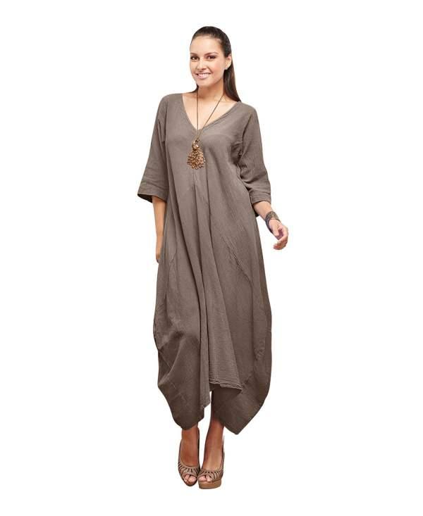 Gauze Bella 100 Cotton Lagenlook Dress -neck