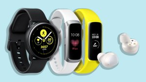 The Samsung Galaxy Watch Active, Fit, and Buds.