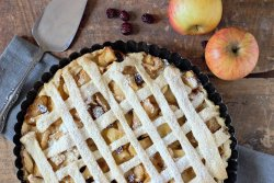 hot fresh apple pie with apples and raisins