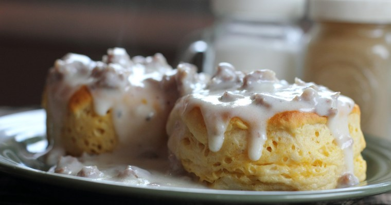 homemade biscuits, gravy