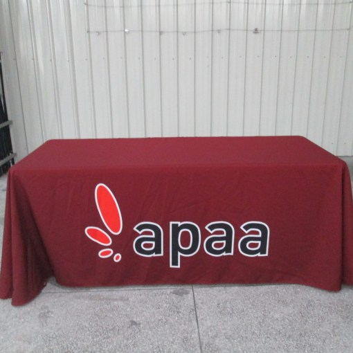 printed tablecloth with company logo