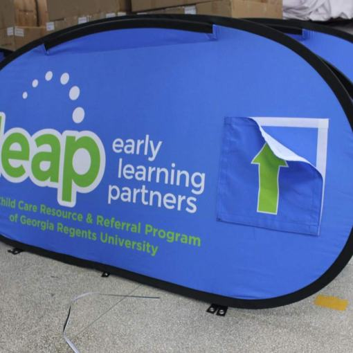 Oval Pop up Banner with Pocket