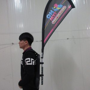 Backpack street promo flags