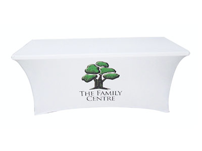 6 Foot Stretch tablecloth with logo