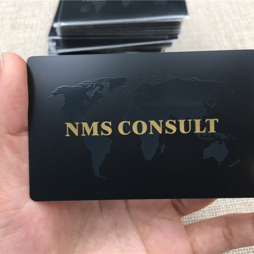 Matte Black Metal Cards with Spot UV and Etching