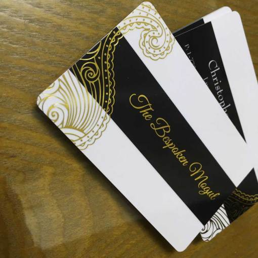 White Plastic Card with Gold Foil