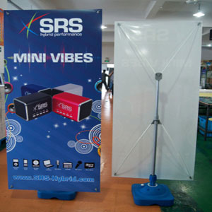 Outdoor banner stand with water base
