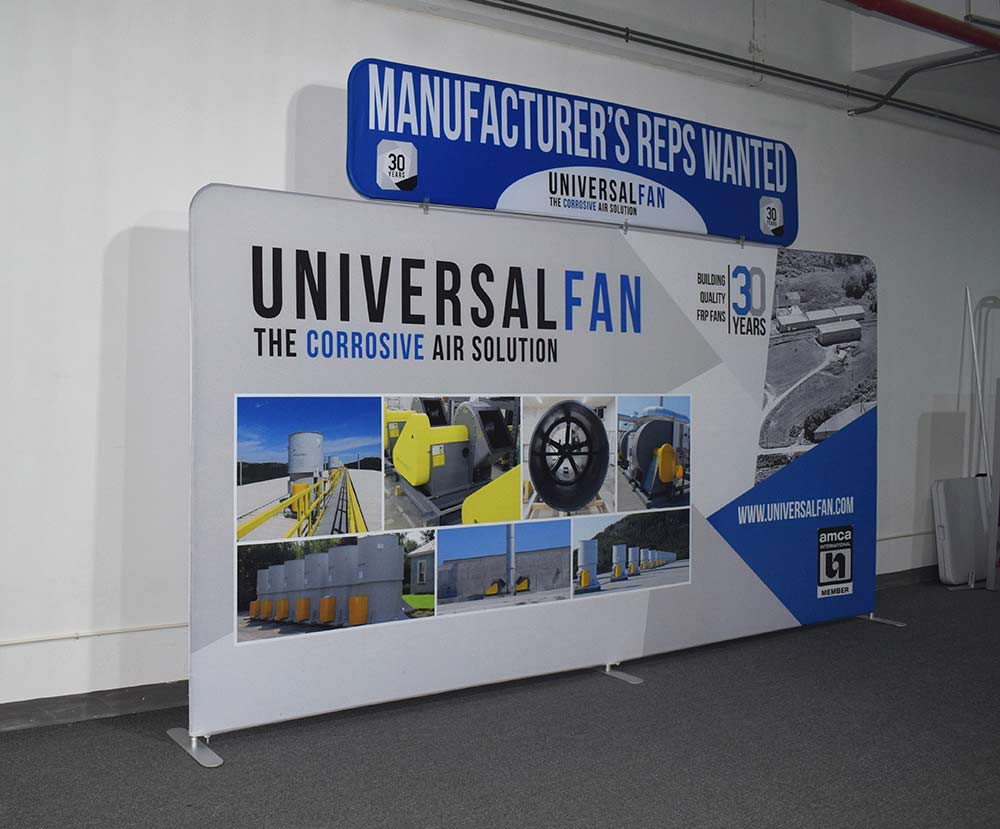 Exhibition Booth Header : Tension fabric displays waveline for trade shows