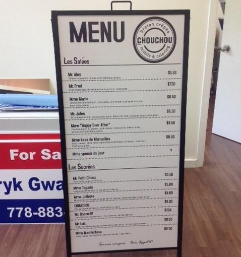 Sandwich board sidewalk sign