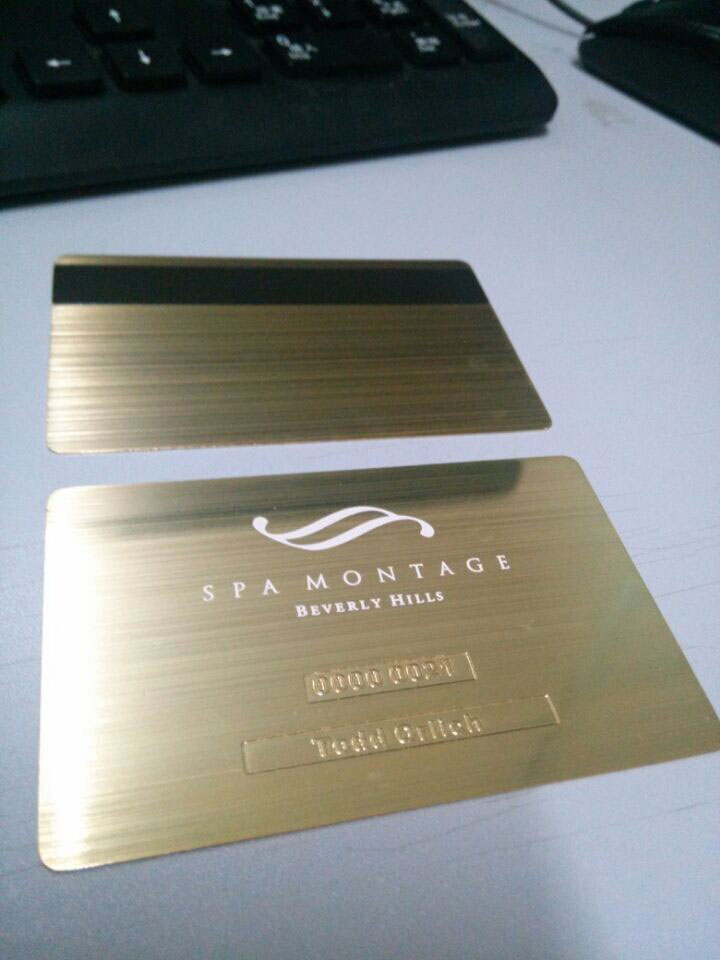 Gold metal business cards luxury and stylish free shipping gold card beverly hills california brushed metal card reheart Images