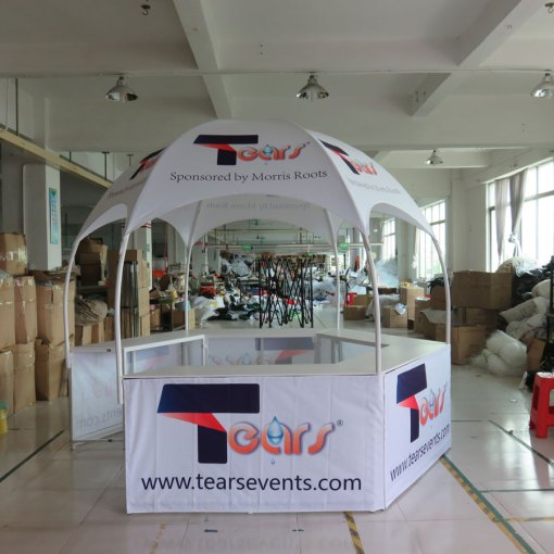 Printed tent with booth
