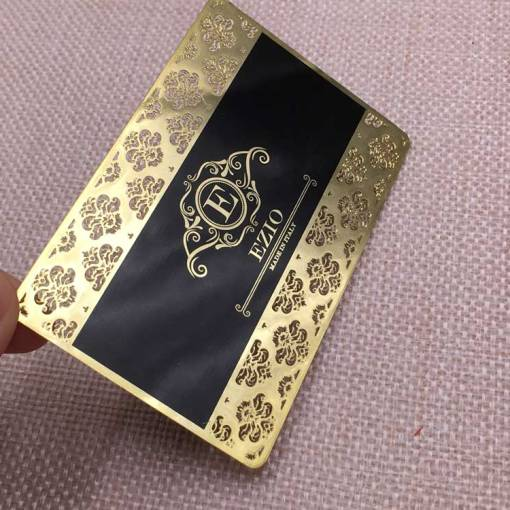 Gold Metal Business Cards with lace Border