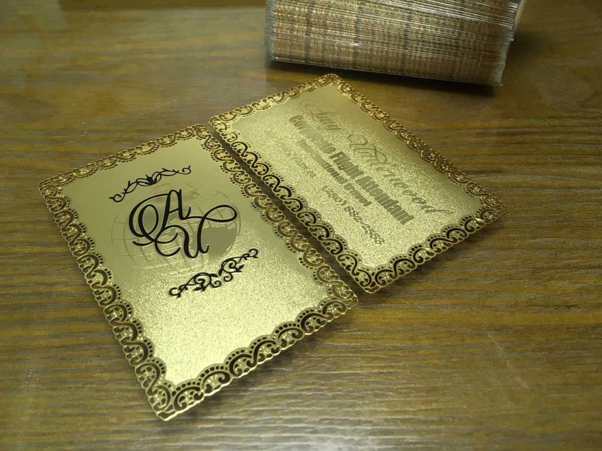 Gold metal business cards luxury and stylish free shipping frosted gold metal business cards reheart Choice Image
