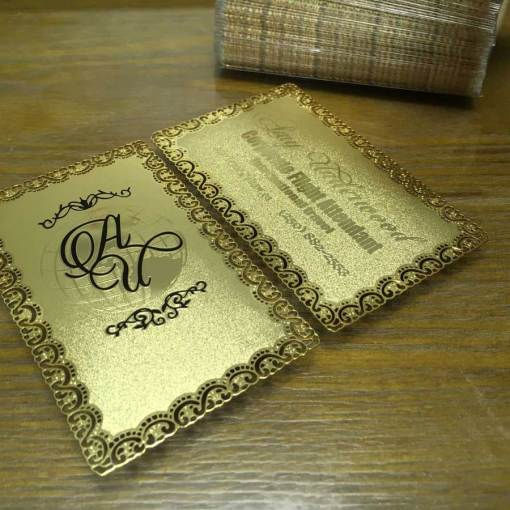 Frosted Gold Metal Business Cards
