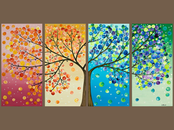 "Awesome ""Quadtych"" Tree Painting"